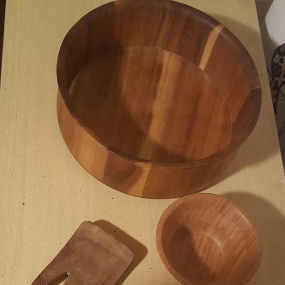 Acacia Wood bowl & Salad Claws & Small Bamboo Bowl
